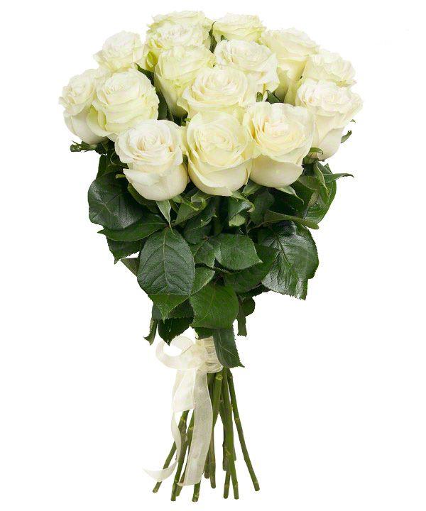 Букет из 15 белых роз, сорт Mondial